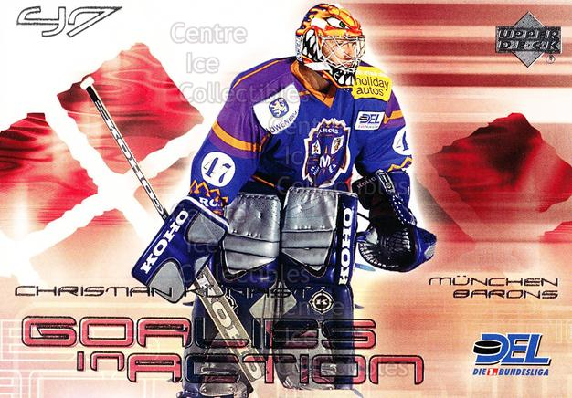 2001-02 German DEL Goalies in Action #8 Christian Kunast<br/>3 In Stock - $3.00 each - <a href=https://centericecollectibles.foxycart.com/cart?name=2001-02%20German%20DEL%20Goalies%20in%20Action%20%238%20Christian%20Kunas...&quantity_max=3&price=$3.00&code=93911 class=foxycart> Buy it now! </a>
