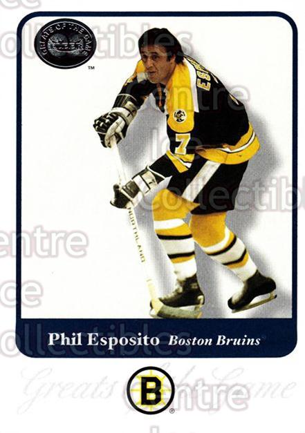 2001-02 Fleer Greats of the Game #5 Phil Esposito<br/>11 In Stock - $2.00 each - <a href=https://centericecollectibles.foxycart.com/cart?name=2001-02%20Fleer%20Greats%20of%20the%20Game%20%235%20Phil%20Esposito...&quantity_max=11&price=$2.00&code=94124 class=foxycart> Buy it now! </a>