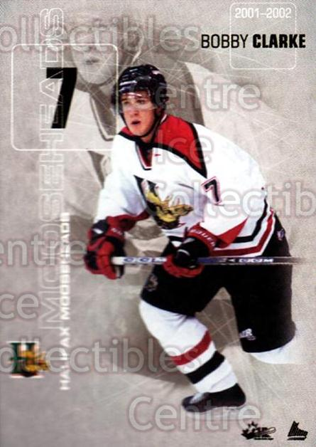2001-02 Halifax Mooseheads #4 Bobby Clarke (2)<br/>9 In Stock - $3.00 each - <a href=https://centericecollectibles.foxycart.com/cart?name=2001-02%20Halifax%20Mooseheads%20%234%20Bobby%20Clarke%20(2...&quantity_max=9&price=$3.00&code=94217 class=foxycart> Buy it now! </a>
