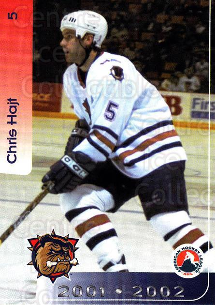 2001-02 Hamilton Bulldogs #2 Chris Hajt<br/>5 In Stock - $3.00 each - <a href=https://centericecollectibles.foxycart.com/cart?name=2001-02%20Hamilton%20Bulldogs%20%232%20Chris%20Hajt...&quantity_max=5&price=$3.00&code=94231 class=foxycart> Buy it now! </a>