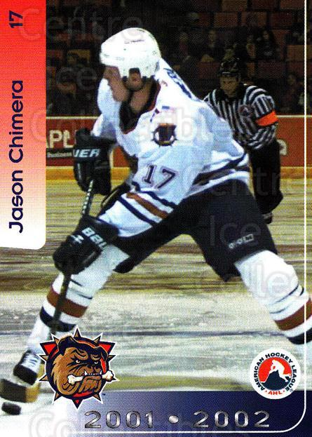 2001-02 Hamilton Bulldogs #6 Jason Chimera<br/>4 In Stock - $3.00 each - <a href=https://centericecollectibles.foxycart.com/cart?name=2001-02%20Hamilton%20Bulldogs%20%236%20Jason%20Chimera...&quantity_max=4&price=$3.00&code=94241 class=foxycart> Buy it now! </a>