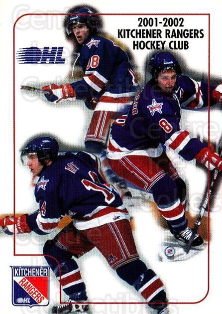 2001-02 Kitchener Rangers #28 Steve Eminger, Derek Roy, Mike Richards, Checklist<br/>6 In Stock - $3.00 each - <a href=https://centericecollectibles.foxycart.com/cart?name=2001-02%20Kitchener%20Rangers%20%2328%20Steve%20Eminger,%20...&quantity_max=6&price=$3.00&code=94384 class=foxycart> Buy it now! </a>
