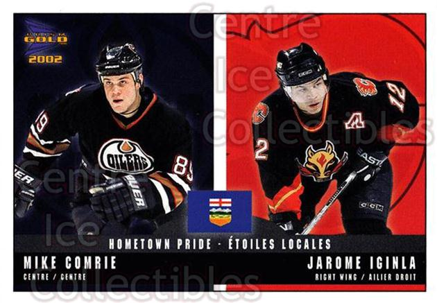 2001-02 McDonalds Pacific Hometown Pride #4 Mike Comrie, Jarome Iginla<br/>10 In Stock - $1.00 each - <a href=https://centericecollectibles.foxycart.com/cart?name=2001-02%20McDonalds%20Pacific%20Hometown%20Pride%20%234%20Mike%20Comrie,%20Ja...&quantity_max=10&price=$1.00&code=94470 class=foxycart> Buy it now! </a>