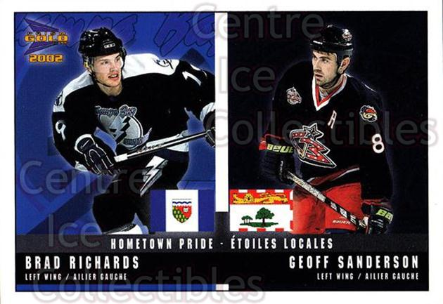 2001-02 McDonalds Pacific Hometown Pride #5 Brad Richards, Geoff Sanderson<br/>9 In Stock - $1.00 each - <a href=https://centericecollectibles.foxycart.com/cart?name=2001-02%20McDonalds%20Pacific%20Hometown%20Pride%20%235%20Brad%20Richards,%20...&quantity_max=9&price=$1.00&code=94471 class=foxycart> Buy it now! </a>