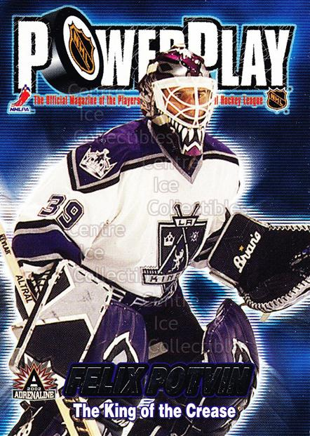 2001-02 Adrenaline Power Play #18 Felix Potvin<br/>7 In Stock - $2.00 each - <a href=https://centericecollectibles.foxycart.com/cart?name=2001-02%20Adrenaline%20Power%20Play%20%2318%20Felix%20Potvin...&quantity_max=7&price=$2.00&code=94874 class=foxycart> Buy it now! </a>