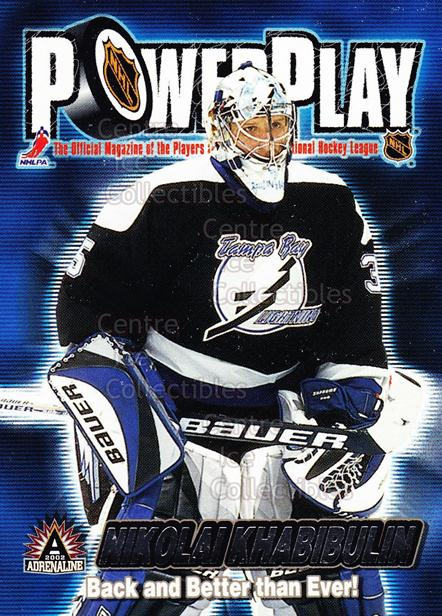 2001-02 Adrenaline Power Play #33 Nikolai Khabibulin<br/>8 In Stock - $2.00 each - <a href=https://centericecollectibles.foxycart.com/cart?name=2001-02%20Adrenaline%20Power%20Play%20%2333%20Nikolai%20Khabibu...&quantity_max=8&price=$2.00&code=94888 class=foxycart> Buy it now! </a>
