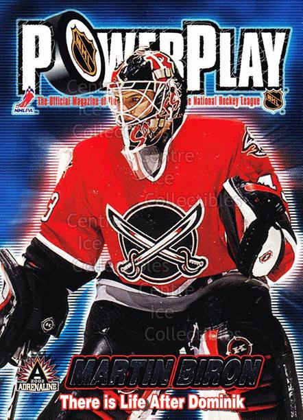 2001-02 Adrenaline Power Play #5 Martin Biron<br/>5 In Stock - $2.00 each - <a href=https://centericecollectibles.foxycart.com/cart?name=2001-02%20Adrenaline%20Power%20Play%20%235%20Martin%20Biron...&quantity_max=5&price=$2.00&code=94893 class=foxycart> Buy it now! </a>