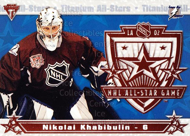 2001-02 Titanium AS #18 Nikolai Khabibulin<br/>9 In Stock - $2.00 each - <a href=https://centericecollectibles.foxycart.com/cart?name=2001-02%20Titanium%20AS%20%2318%20Nikolai%20Khabibu...&quantity_max=9&price=$2.00&code=95079 class=foxycart> Buy it now! </a>