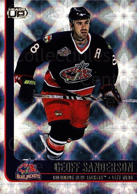 2001-02 Heads-Up #28 Geoff Sanderson<br/>6 In Stock - $1.00 each - <a href=https://centericecollectibles.foxycart.com/cart?name=2001-02%20Heads-Up%20%2328%20Geoff%20Sanderson...&quantity_max=6&price=$1.00&code=95128 class=foxycart> Buy it now! </a>
