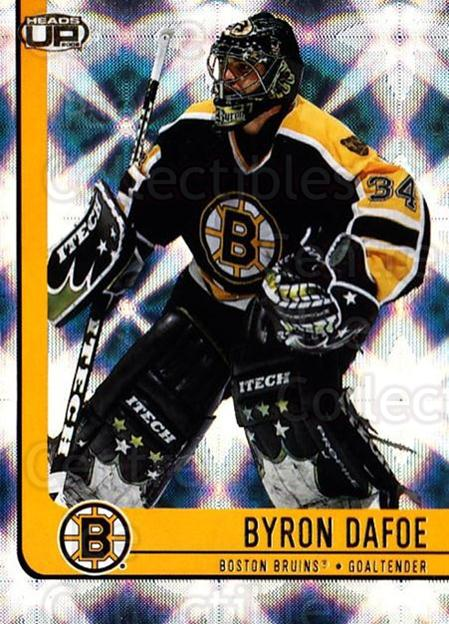2001-02 Heads-Up #7 Byron Dafoe<br/>6 In Stock - $1.00 each - <a href=https://centericecollectibles.foxycart.com/cart?name=2001-02%20Heads-Up%20%237%20Byron%20Dafoe...&quantity_max=6&price=$1.00&code=95289 class=foxycart> Buy it now! </a>