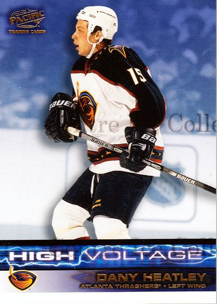 2001-02 Pacific High Voltage #1 Dany Heatley<br/>12 In Stock - $2.00 each - <a href=https://centericecollectibles.foxycart.com/cart?name=2001-02%20Pacific%20High%20Voltage%20%231%20Dany%20Heatley...&quantity_max=12&price=$2.00&code=95318 class=foxycart> Buy it now! </a>