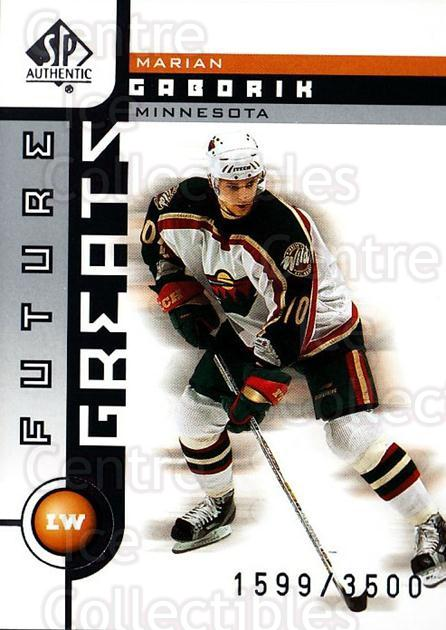 2001-02 SP Authentic #123 Marian Gaborik<br/>9 In Stock - $2.00 each - <a href=https://centericecollectibles.foxycart.com/cart?name=2001-02%20SP%20Authentic%20%23123%20Marian%20Gaborik...&quantity_max=9&price=$2.00&code=96483 class=foxycart> Buy it now! </a>
