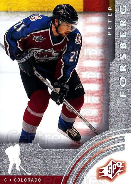 2001-02 SPx #14 Peter Forsberg<br/>6 In Stock - $2.00 each - <a href=https://centericecollectibles.foxycart.com/cart?name=2001-02%20SPx%20%2314%20Peter%20Forsberg...&quantity_max=6&price=$2.00&code=96727 class=foxycart> Buy it now! </a>