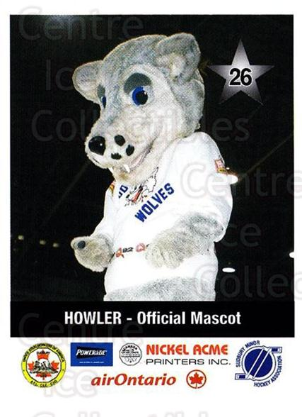 2001-02 Sudbury Wolves Police #26 Mascot<br/>5 In Stock - $3.00 each - <a href=https://centericecollectibles.foxycart.com/cart?name=2001-02%20Sudbury%20Wolves%20Police%20%2326%20Mascot...&quantity_max=5&price=$3.00&code=97046 class=foxycart> Buy it now! </a>
