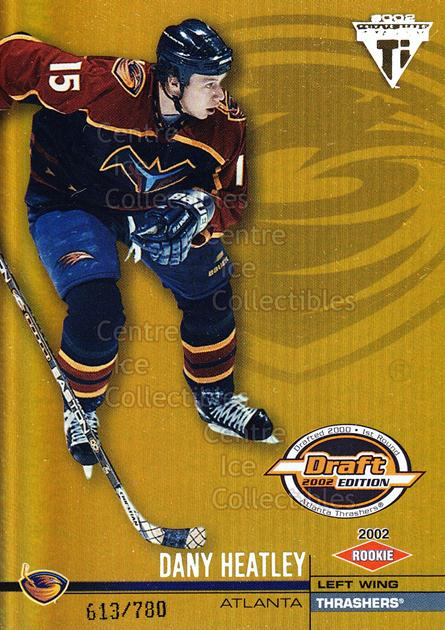 2001-02 Titanium Draft Day Edition #104 Dany Heatley<br/>3 In Stock - $3.00 each - <a href=https://centericecollectibles.foxycart.com/cart?name=2001-02%20Titanium%20Draft%20Day%20Edition%20%23104%20Dany%20Heatley...&quantity_max=3&price=$3.00&code=97130 class=foxycart> Buy it now! </a>