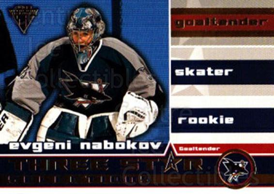 2001-02 Titanium Three-Star Selections #8 Evgeni Nabokov<br/>3 In Stock - $2.00 each - <a href=https://centericecollectibles.foxycart.com/cart?name=2001-02%20Titanium%20Three-Star%20Selections%20%238%20Evgeni%20Nabokov...&quantity_max=3&price=$2.00&code=97351 class=foxycart> Buy it now! </a>