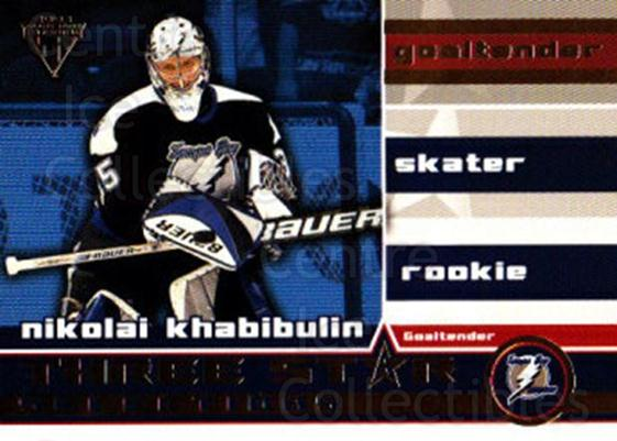 2001-02 Titanium Three-Star Selections #9 Nikolai Khabibulin<br/>2 In Stock - $2.00 each - <a href=https://centericecollectibles.foxycart.com/cart?name=2001-02%20Titanium%20Three-Star%20Selections%20%239%20Nikolai%20Khabibu...&quantity_max=2&price=$2.00&code=97352 class=foxycart> Buy it now! </a>