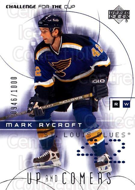 2001-02 UD Challenge for the Cup #131 Mark Rycroft<br/>5 In Stock - $3.00 each - <a href=https://centericecollectibles.foxycart.com/cart?name=2001-02%20UD%20Challenge%20for%20the%20Cup%20%23131%20Mark%20Rycroft...&quantity_max=5&price=$3.00&code=98240 class=foxycart> Buy it now! </a>