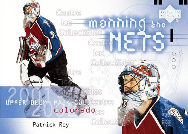 2001-02 UD Mask Collection #108 Patrick Roy<br/>9 In Stock - $5.00 each - <a href=https://centericecollectibles.foxycart.com/cart?name=2001-02%20UD%20Mask%20Collection%20%23108%20Patrick%20Roy...&price=$5.00&code=98334 class=foxycart> Buy it now! </a>