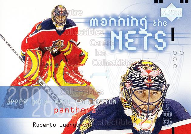 2001-02 UD Mask Collection #113 Roberto Luongo<br/>11 In Stock - $2.00 each - <a href=https://centericecollectibles.foxycart.com/cart?name=2001-02%20UD%20Mask%20Collection%20%23113%20Roberto%20Luongo...&quantity_max=11&price=$2.00&code=98339 class=foxycart> Buy it now! </a>