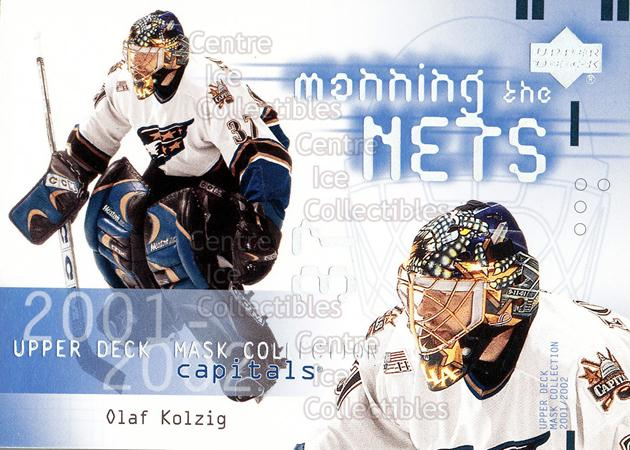 2001-02 UD Mask Collection #130 Olaf Kolzig<br/>7 In Stock - $2.00 each - <a href=https://centericecollectibles.foxycart.com/cart?name=2001-02%20UD%20Mask%20Collection%20%23130%20Olaf%20Kolzig...&quantity_max=7&price=$2.00&code=98355 class=foxycart> Buy it now! </a>