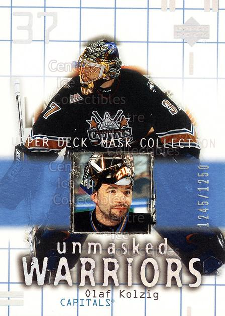 2001-02 UD Mask Collection #190 Olaf Kolzig<br/>4 In Stock - $3.00 each - <a href=https://centericecollectibles.foxycart.com/cart?name=2001-02%20UD%20Mask%20Collection%20%23190%20Olaf%20Kolzig...&quantity_max=4&price=$3.00&code=98381 class=foxycart> Buy it now! </a>