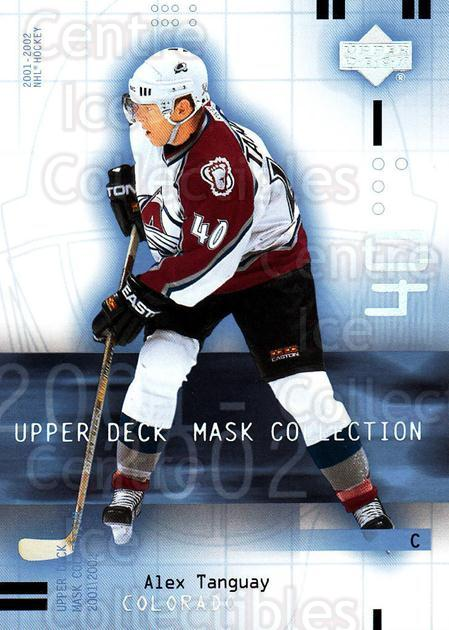 2001-02 UD Mask Collection #24 Alex Tanguay<br/>6 In Stock - $1.00 each - <a href=https://centericecollectibles.foxycart.com/cart?name=2001-02%20UD%20Mask%20Collection%20%2324%20Alex%20Tanguay...&quantity_max=6&price=$1.00&code=98387 class=foxycart> Buy it now! </a>