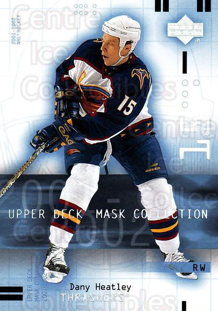 2001-02 UD Mask Collection #4 Dany Heatley<br/>6 In Stock - $1.00 each - <a href=https://centericecollectibles.foxycart.com/cart?name=2001-02%20UD%20Mask%20Collection%20%234%20Dany%20Heatley...&quantity_max=6&price=$1.00&code=98404 class=foxycart> Buy it now! </a>
