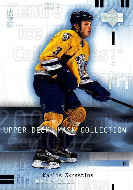 2001-02 UD Mask Collection #52 Karlis Skrastins<br/>1 In Stock - $1.00 each - <a href=https://centericecollectibles.foxycart.com/cart?name=2001-02%20UD%20Mask%20Collection%20%2352%20Karlis%20Skrastin...&quantity_max=1&price=$1.00&code=98418 class=foxycart> Buy it now! </a>