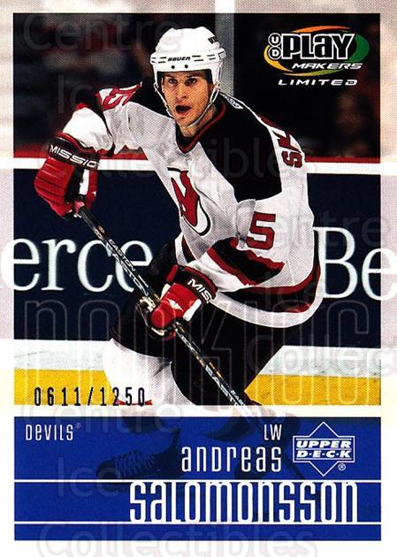 2001-02 UD Playmakers #127 Andreas Salomonsson<br/>2 In Stock - $3.00 each - <a href=https://centericecollectibles.foxycart.com/cart?name=2001-02%20UD%20Playmakers%20%23127%20Andreas%20Salomon...&price=$3.00&code=98468 class=foxycart> Buy it now! </a>