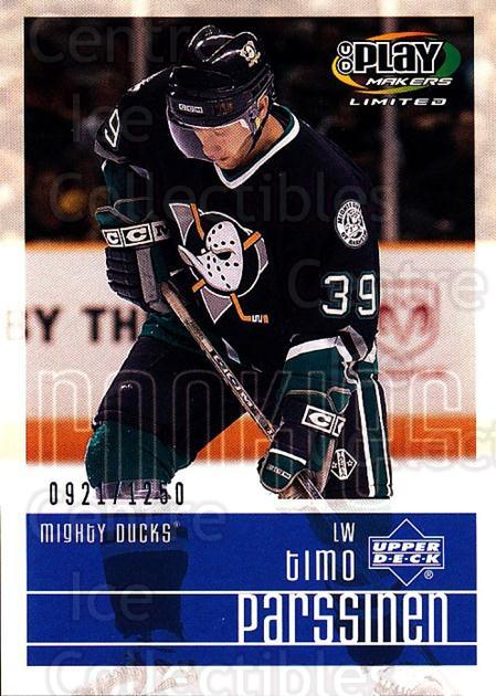 2001-02 UD Playmakers #101 Timo Parssinen<br/>7 In Stock - $3.00 each - <a href=https://centericecollectibles.foxycart.com/cart?name=2001-02%20UD%20Playmakers%20%23101%20Timo%20Parssinen...&quantity_max=7&price=$3.00&code=98475 class=foxycart> Buy it now! </a>