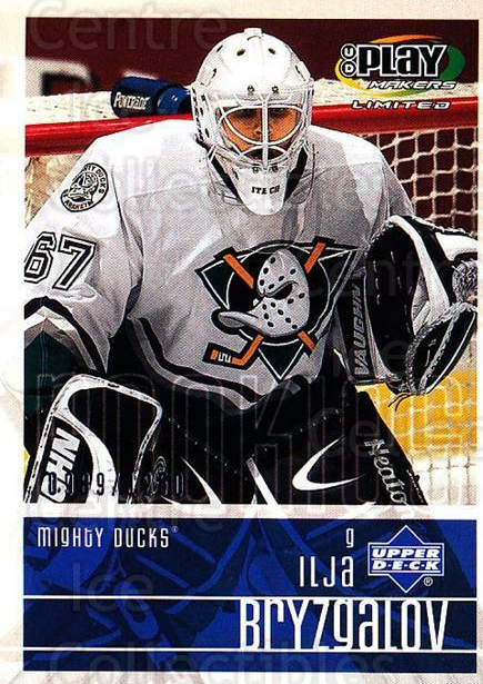 2001-02 UD Playmakers #102 Ilya Bryzgalov<br/>5 In Stock - $3.00 each - <a href=https://centericecollectibles.foxycart.com/cart?name=2001-02%20UD%20Playmakers%20%23102%20Ilya%20Bryzgalov...&quantity_max=5&price=$3.00&code=98476 class=foxycart> Buy it now! </a>