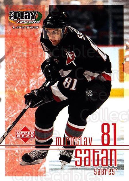 2001-02 UD Playmakers #11 Miroslav Satan<br/>7 In Stock - $1.00 each - <a href=https://centericecollectibles.foxycart.com/cart?name=2001-02%20UD%20Playmakers%20%2311%20Miroslav%20Satan...&quantity_max=7&price=$1.00&code=98481 class=foxycart> Buy it now! </a>