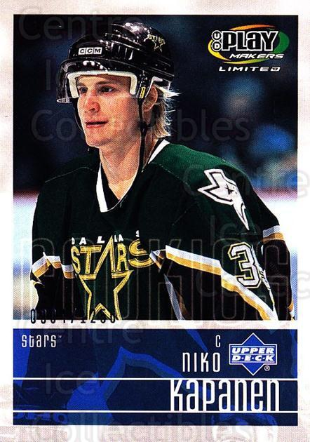 2001-02 UD Playmakers #114 Niko Kapanen<br/>6 In Stock - $3.00 each - <a href=https://centericecollectibles.foxycart.com/cart?name=2001-02%20UD%20Playmakers%20%23114%20Niko%20Kapanen...&quantity_max=6&price=$3.00&code=98485 class=foxycart> Buy it now! </a>