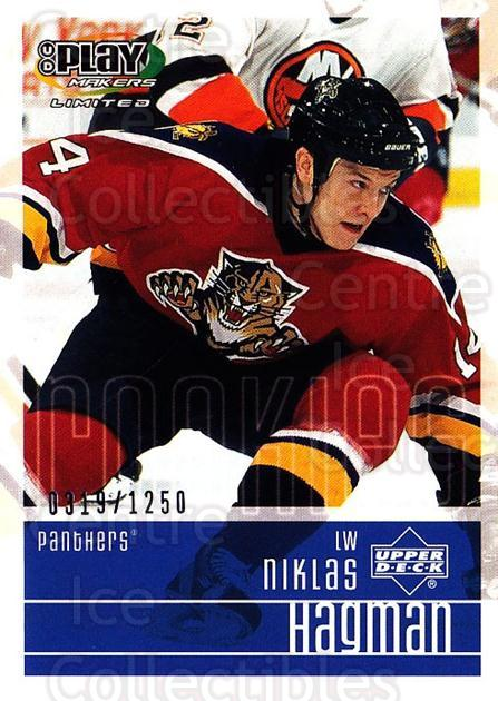 2001-02 UD Playmakers #119 Niklas Hagman<br/>4 In Stock - $3.00 each - <a href=https://centericecollectibles.foxycart.com/cart?name=2001-02%20UD%20Playmakers%20%23119%20Niklas%20Hagman...&quantity_max=4&price=$3.00&code=98487 class=foxycart> Buy it now! </a>