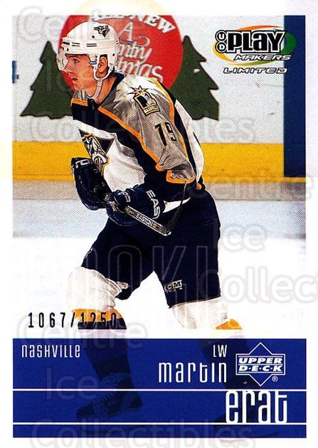 2001-02 UD Playmakers #125 Martin Erat<br/>6 In Stock - $3.00 each - <a href=https://centericecollectibles.foxycart.com/cart?name=2001-02%20UD%20Playmakers%20%23125%20Martin%20Erat...&quantity_max=6&price=$3.00&code=98492 class=foxycart> Buy it now! </a>
