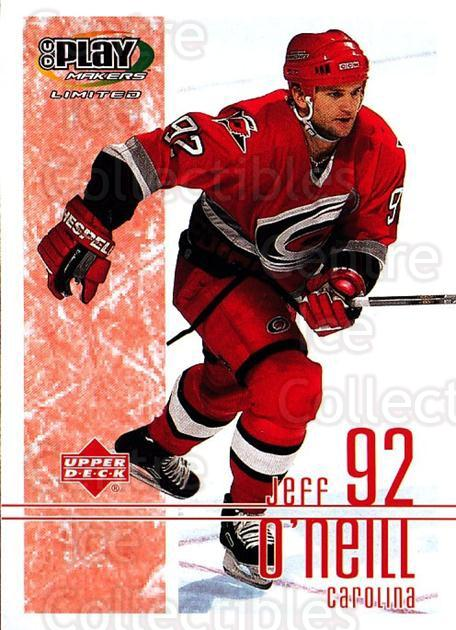 2001-02 UD Playmakers #17 Jeff O'Neill<br/>6 In Stock - $1.00 each - <a href=https://centericecollectibles.foxycart.com/cart?name=2001-02%20UD%20Playmakers%20%2317%20Jeff%20O'Neill...&quantity_max=6&price=$1.00&code=98513 class=foxycart> Buy it now! </a>