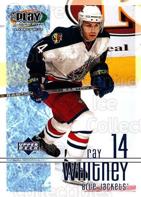 2001-02 UD Playmakers #29 Ray Whitney<br/>6 In Stock - $1.00 each - <a href=https://centericecollectibles.foxycart.com/cart?name=2001-02%20UD%20Playmakers%20%2329%20Ray%20Whitney...&quantity_max=6&price=$1.00&code=98526 class=foxycart> Buy it now! </a>