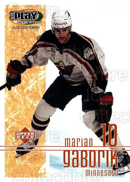 2001-02 UD Playmakers #50 Marian Gaborik<br/>7 In Stock - $1.00 each - <a href=https://centericecollectibles.foxycart.com/cart?name=2001-02%20UD%20Playmakers%20%2350%20Marian%20Gaborik...&quantity_max=7&price=$1.00&code=98548 class=foxycart> Buy it now! </a>