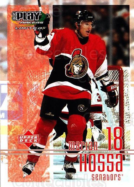 2001-02 UD Playmakers #69 Marian Hossa<br/>7 In Stock - $1.00 each - <a href=https://centericecollectibles.foxycart.com/cart?name=2001-02%20UD%20Playmakers%20%2369%20Marian%20Hossa...&quantity_max=7&price=$1.00&code=98565 class=foxycart> Buy it now! </a>
