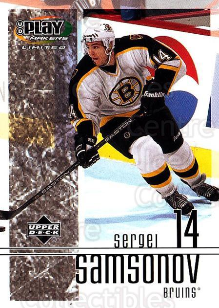 2001-02 UD Playmakers #7 Sergei Samsonov<br/>7 In Stock - $1.00 each - <a href=https://centericecollectibles.foxycart.com/cart?name=2001-02%20UD%20Playmakers%20%237%20Sergei%20Samsonov...&quantity_max=7&price=$1.00&code=98566 class=foxycart> Buy it now! </a>