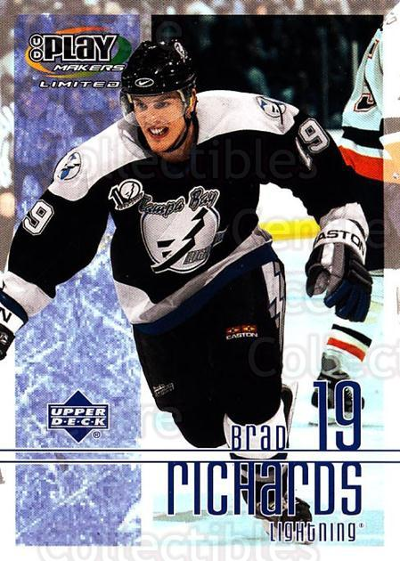 2001-02 UD Playmakers #89 Brad Richards<br/>7 In Stock - $1.00 each - <a href=https://centericecollectibles.foxycart.com/cart?name=2001-02%20UD%20Playmakers%20%2389%20Brad%20Richards...&quantity_max=7&price=$1.00&code=98587 class=foxycart> Buy it now! </a>
