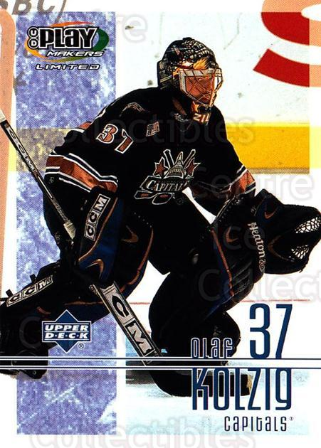 2001-02 UD Playmakers #99 Olaf Kolzig<br/>7 In Stock - $1.00 each - <a href=https://centericecollectibles.foxycart.com/cart?name=2001-02%20UD%20Playmakers%20%2399%20Olaf%20Kolzig...&quantity_max=7&price=$1.00&code=98598 class=foxycart> Buy it now! </a>