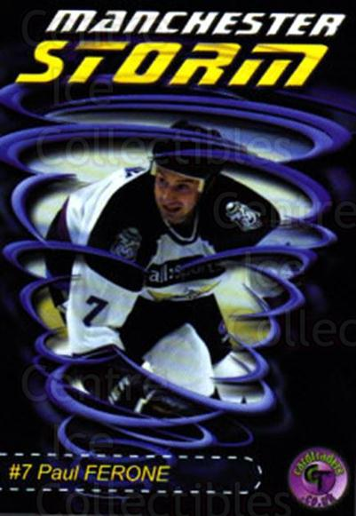 2001-02 UK British Elite Manchester Storm #1 Paul Ferone<br/>10 In Stock - $2.00 each - <a href=https://centericecollectibles.foxycart.com/cart?name=2001-02%20UK%20British%20Elite%20Manchester%20Storm%20%231%20Paul%20Ferone...&quantity_max=10&price=$2.00&code=98925 class=foxycart> Buy it now! </a>