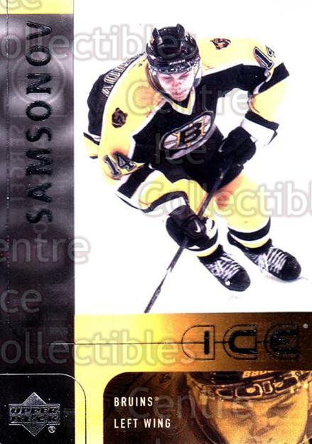 2001-02 UD Ice #3 Sergei Samsonov<br/>6 In Stock - $1.00 each - <a href=https://centericecollectibles.foxycart.com/cart?name=2001-02%20UD%20Ice%20%233%20Sergei%20Samsonov...&quantity_max=6&price=$1.00&code=99177 class=foxycart> Buy it now! </a>