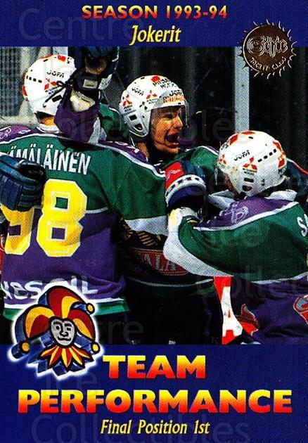 1994-95 Finnish SISU #182 Jokerit<br/>3 In Stock - $2.00 each - <a href=https://centericecollectibles.foxycart.com/cart?name=1994-95%20Finnish%20SISU%20%23182%20Jokerit...&quantity_max=3&price=$2.00&code=995 class=foxycart> Buy it now! </a>