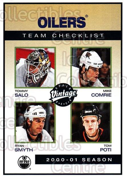 2001-02 UD Vintage #105 Tommy Salo, Ryan Smyth, Mike Comrie, Tom Poti, Checklist<br/>4 In Stock - $1.00 each - <a href=https://centericecollectibles.foxycart.com/cart?name=2001-02%20UD%20Vintage%20%23105%20Tommy%20Salo,%20Rya...&quantity_max=4&price=$1.00&code=99713 class=foxycart> Buy it now! </a>