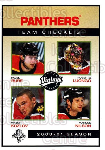 2001-02 UD Vintage #113 Pavel Bure, Viktor Kozlov, Roberto Luongo, Marcus Nilsson, Checklist<br/>3 In Stock - $1.00 each - <a href=https://centericecollectibles.foxycart.com/cart?name=2001-02%20UD%20Vintage%20%23113%20Pavel%20Bure,%20Vik...&quantity_max=3&price=$1.00&code=99722 class=foxycart> Buy it now! </a>