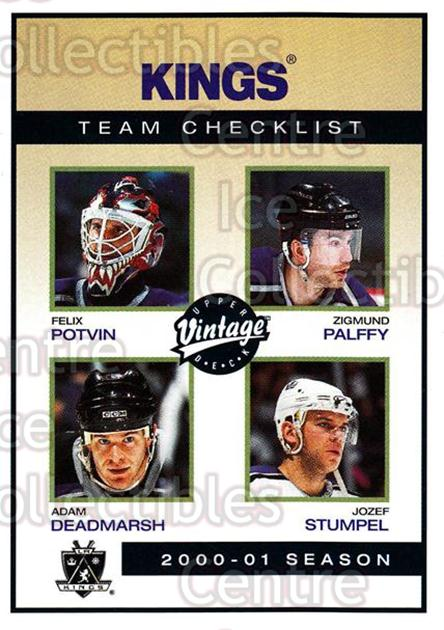 2001-02 UD Vintage #122 Felix Potvin, Adam Deadmarsh, Zigmund Palffy, Jozef Stumpel, Checklist<br/>6 In Stock - $1.00 each - <a href=https://centericecollectibles.foxycart.com/cart?name=2001-02%20UD%20Vintage%20%23122%20Felix%20Potvin,%20A...&quantity_max=6&price=$1.00&code=99732 class=foxycart> Buy it now! </a>