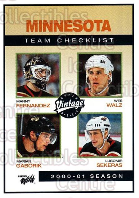 2001-02 UD Vintage #130 Manny Fernandez, Marian Gaborik, Wes Walz, Lubomir Sekeras, Checklist<br/>3 In Stock - $1.00 each - <a href=https://centericecollectibles.foxycart.com/cart?name=2001-02%20UD%20Vintage%20%23130%20Manny%20Fernandez...&quantity_max=3&price=$1.00&code=99741 class=foxycart> Buy it now! </a>